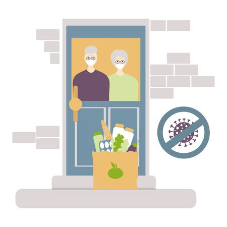 Contactless of Food delivery to the elderly people. Coronavirus, covid-19 concept. Elderly couple at the door is going to pick up the delivered food. home delivery paper bag
