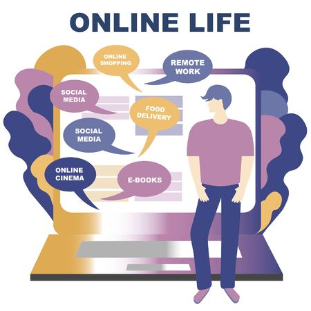 Concept of life online illustration. You can get everything staying at home online. Laptop and man choose service Banque d'images - 144127587