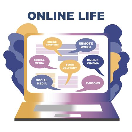 Concept of life online. You can get everything staying at home online.  laptop, choosing a service, creativ gradient illustration Banque d'images - 144127607