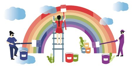 Hope Coronavirus Rainbow concept. Motivational slogan Everything will be fine, ok. People paint the rainbow together as a symbol of overcoming the epidemic.