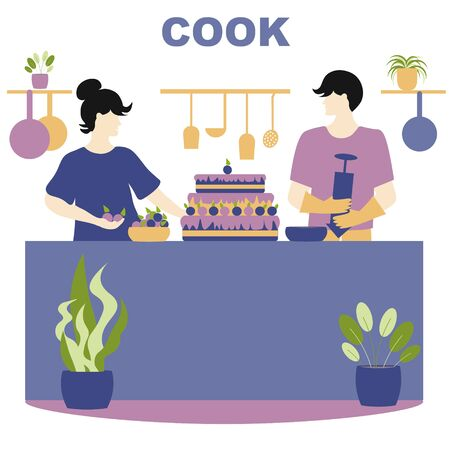 Quarantine, stay at home concept - people sitting at their home, Woman and man cook, they bake cake and try new recipes.