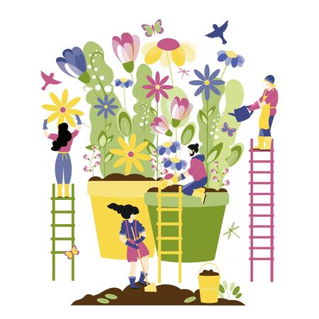 Trendy spring, gardening people concept. People plant and water spring flowers, interaction and common work of people, collaboration. As a symbol of a new life after disease and viruses. Vector