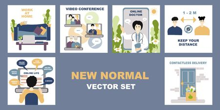 New normal lifestye vector set. After Outbreak . After the Coronavirus or Covid-19. Online life, video conference, contacless delivery, work at home, keep distance. Changes in people's lives since coronavirus