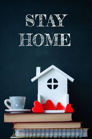 COVID-19 Coronavirus  STAY HOME social media message, COVID-19 staying at home concept. Cute home interior, hearts in the house, as a symbol of love for the house and for your life Banque d'images - 147067151