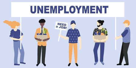 Unemployment, the lost job concept vector. White and Afro American people with possessions in hand  and holding message boards - need a job and Unemployment.  Drawn by the people at the meeting Illustration