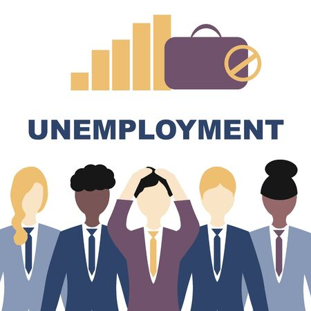 Unemployment, the lost job concept vector. White and Afro American people in suits grabbing their heads, the inscription is unemployment.  Illustration