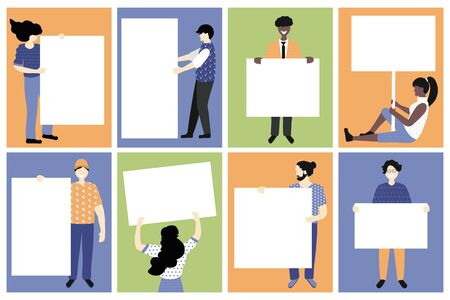 Set vector illustration. Trendy white and afro american people holding message boards, empty placard with place for text. Fashion cartoon young people holding clean empty board banners Banque d'images - 147629884