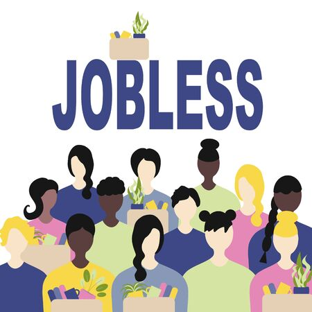 Unemployment, the lost job concept vector. White and Afro American people with  possessions in hand, the inscription is jobless Illustration
