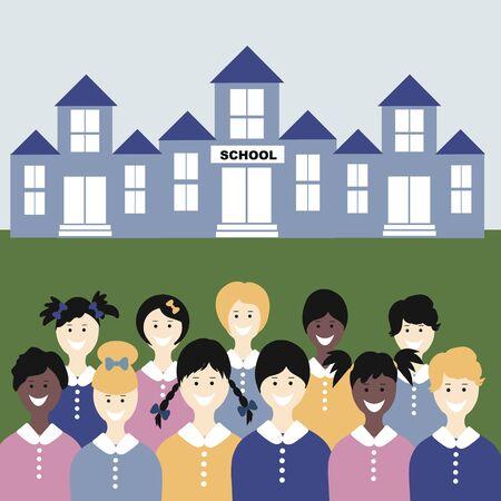 Happy Schoolchildren Group Go Back To School. Trendy Flat Vector Illustration. Kids smile and start school