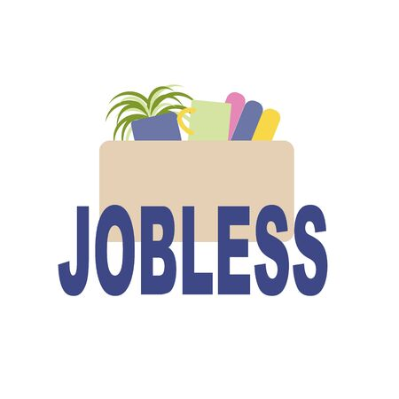 As a symbol of dismissal and loss of employment box with office supplies and things, the inscription - jobless. Unemployment, the lost job concept vector. Banque d'images - 147651343