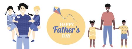 Father's day  poster or banner in flat style. Vector of love dad  and Fathers day Concept, happy african american  and  white family, father and two children Banque d'images - 148324804