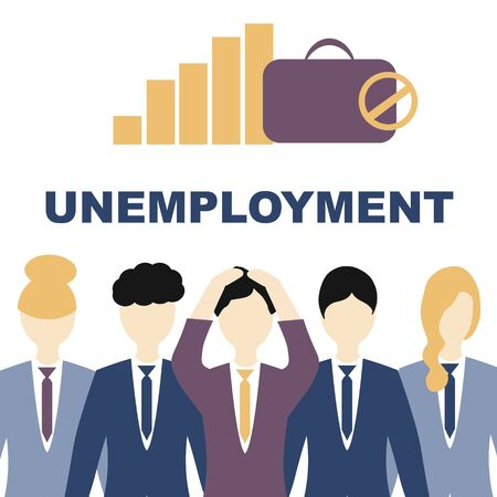 Unemployment, the lost job concept vector. People in suits grasping at the head, the inscription is unemployment. Banque d'images - 148324805