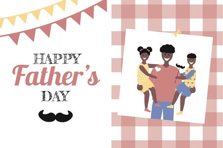 Father's day  Greeting Card , brochures, poster or banner in flat style. Vector of love dad  and Fathers day Concept, happy african american family, father and two children Banque d'images - 148324806