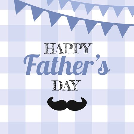 Father's day Greeting Card, brochures, poster or banner in flat style in blue colour. Vector  Fathers day Concept, blue cell background and the inscription happy father's day Banque d'images - 148324807