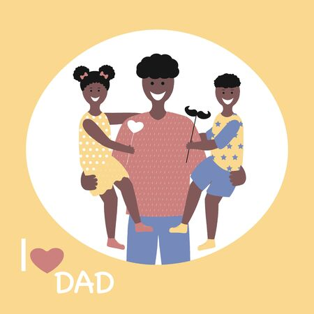 Father's day  Greeting Card , brochures, poster or banner in flat style. Vector of love dad  and Fathers day Concept, happy african american family, father and two children Illustration