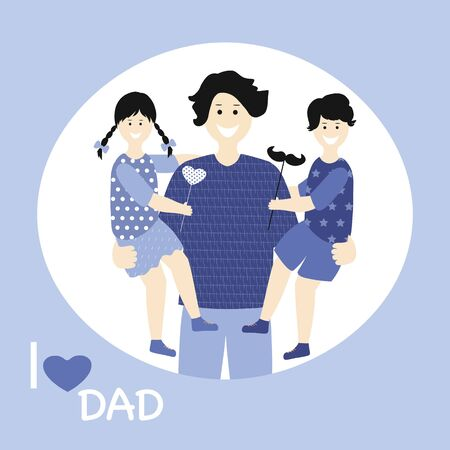 Father's day Greeting Card, brochures, poster or banner in flat style in blue colour. Vector of love dad  and Fathers day Concept, happy family, father and two children Illustration