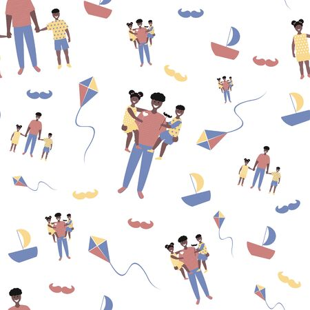 Father's day  seamless pattern  in flat style. Vector of love dad  and Fathers day Concept, happy african american family, father and two children Banque d'images - 148324812