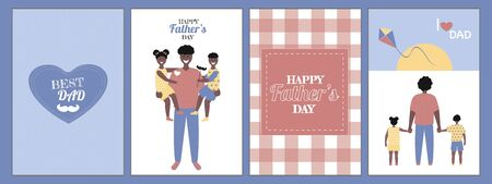 Set of Father's day  Greeting Card , brochures, poster or banner in flat style.  Vector of love dad  and Fathers day Concept, happy african american family, father and two children Banque d'images - 148324814