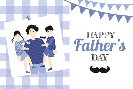 Father's day Greeting Card, brochures, poster or banner in flat style in blue colour. Vector of love dad  and Fathers day Concept, happy family, father and two children Banque d'images - 148324815