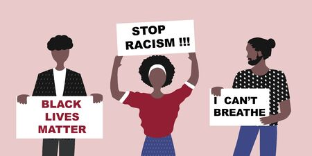 Black Lives Matter and  I Can't Breathe concept. Vector Illustration, Young African Americans man and woman against racism, protest banners and posters about Human Right of Black People in US Banque d'images - 148581629