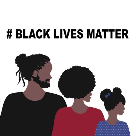 Black Lives Matter concept. Vector Illustration, Young African Americans family against racism, protest banners and posters about Human Right of Black People in US Banque d'images - 148583370
