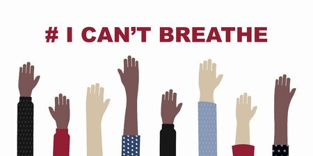 Black Lives Matter and  I Can't Breathe concept. Vector Illustration, Young African Americans family against racism, protest banners and posters about Human Right of Black People in US