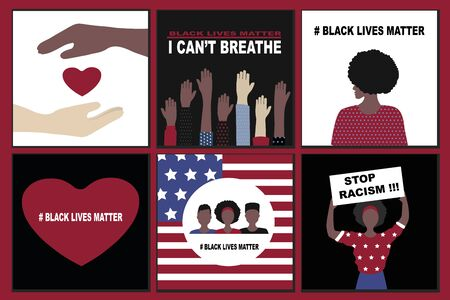 Big set  Black Lives Matter and  I Can't Breathe concept. Vector Illustration, Young African Americans man and woman against racism,  protest banners and posters about Human Right of Black People in US Banque d'images - 148580909