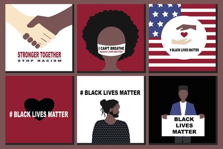 Big set  Black Lives Matter and  I Can't Breathe concept. Vector Illustration, Young African Americans man and woman against racism,  protest banners and posters about Human Right of Black People  US Banque d'images - 148618851