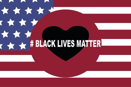 BLM, Black lives matter,  African Americans and white people against racism, protest banners and posters about Human Right of Black People in US. American flag Banque d'images - 148663706