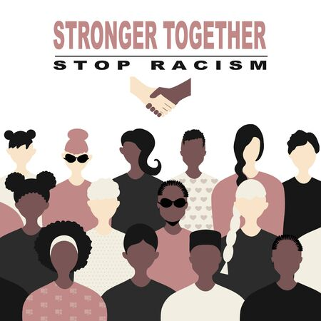 Stop racism and stronger together concept. BLM, Black lives matter,  African Americans and white people against racism, protest banners and posters about Human Right of Black People in US