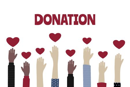 Voluntary, charity and donation flat vector illustration, charity and  fostering, social help. Hands holding a heart symbol