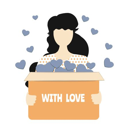 Girl holds a box with donations, hearts fly out of it. Symbol voluntary, charity and donation flat vector illustration. With love inscription Illustration