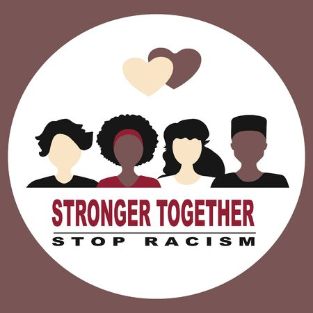 Stop racism and stronger together concept. BLM, Black lives matter,  African Americans and white people against racism, protest banners and posters about Human Right of Black People in US Banque d'images - 148671854