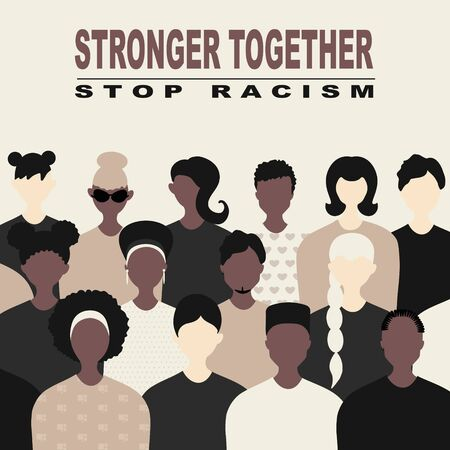 Stop racism and stronger together concept. BLM, Black lives matter,  African Americans and white people against racism, protest banners and posters about Human Right of Black People in US Banque d'images - 149566774
