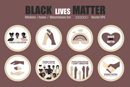 Big set BLM, Black Lives Matter stickers, icons vector Illustration set. African Americans  against racism, protest stickers and posters about Human Right of Black People in US Vectores