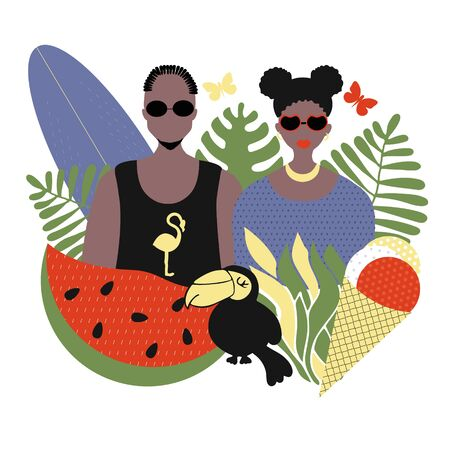 Stylish couple of people, Afro-Americans man and woman, portraits in trend with summer attributes - watermelon and ice cream, toucan and plants. Vector flat illustration, summer time