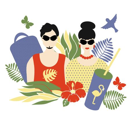 Stylish couple of people, white man and woman, portraits in a trend with summer attributes -  suitcase and cooling drink, plants. Vector flat illustration, summer time