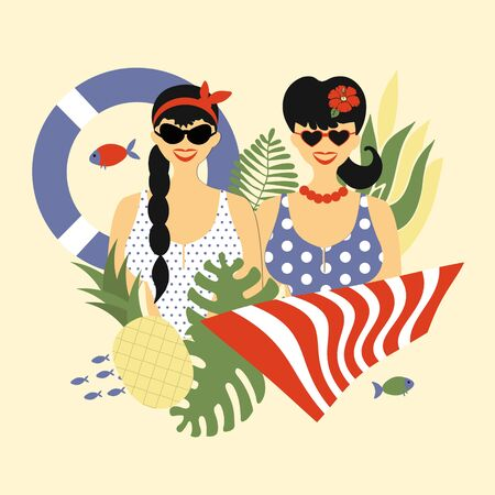 Stylish couple of people, two spectacular white girls in pin-up style swimsuits, trendy portraits with summer attributes - lifebuoy  and  towel, pineapple and plants. Vector flat illustration, summer time Illustration