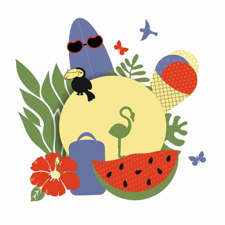 Stylish trendy illustration on a summer theme, vector, sticker composition of summer attributes - watermelon and suitcase, ice cream toucan and flamingo. Summer Holiday Theme