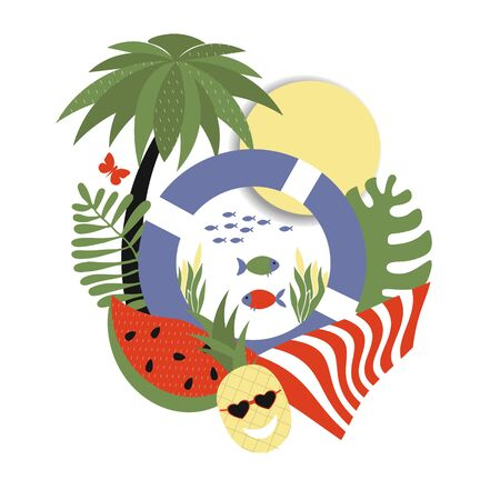 Stylish trendy illustration on a summer theme, vector, sticker composition of summer attributes - pineapple and watermelon, lifebuoy and palm tree. Summer Holiday Theme