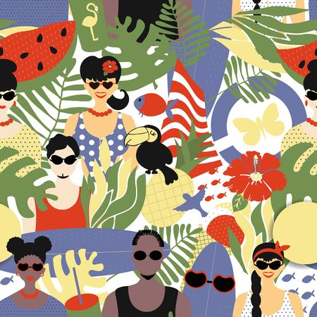Summer seamless pattern, stylish people white and Afro-Americans in summer clothes and with summer attributes - surfboard and watermelon, sun and lifebuoy. Bright summer pattern, vector, flat style Banque d'images - 150381255