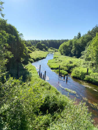Very beautiful fairytale landscape with lush grass and a running river, aerial view