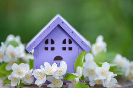 fabulous, toy house and Jasmine flowers on a natural green background, a concept of summer mood, happiness. Concept cozy home, cozy world. Banque d'images