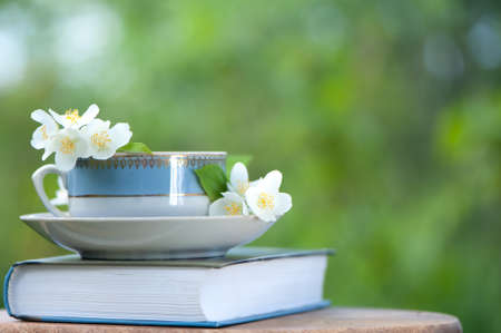 Beautiful summer composition of a cup of tea, book and Jasmine flowers on a natural green background, a concept of good morning, summer mood, happiness