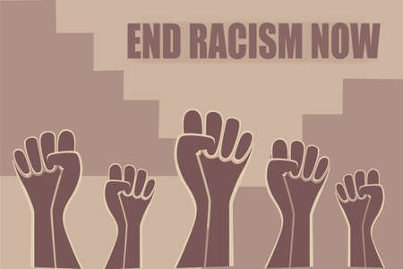 Black Lives Matter and I Can't Breathe concept. Vector Illustration, poster, African Americans against racism, stronger together, stop racism. Stylized illustration of a raised fist
