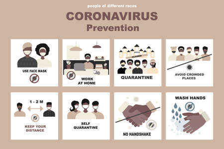 Coronavirus, covid-19 vector set, people of different races, black, african people. No handshake and wash hands, Self quarantine and avoid crowded places, use face mask and keep distance concept. Signs with people on the subject coronavirus Ilustración de vector