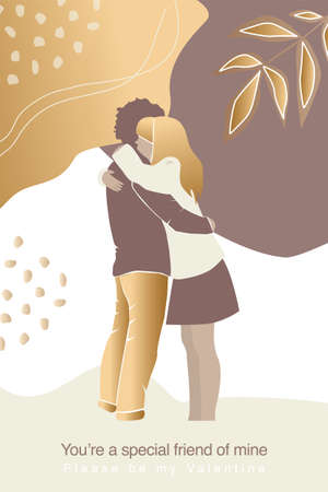 Vector valentine's day card, story or poster, abstract couple shapes and silhouette in gold color. Contemporary art. Postcard with inscriptions - you a special friend of mine, be my Valentine