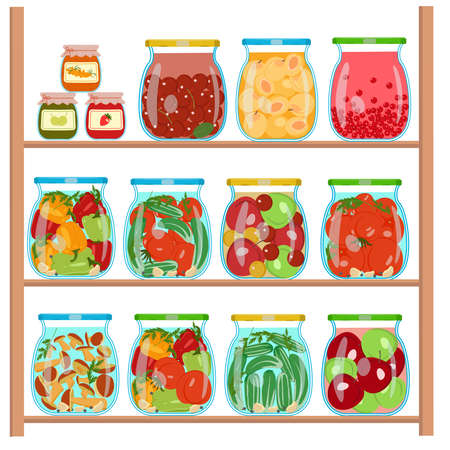 Preparations for the winter in glass jars. Set of glass jars with compotes, pickles, jam on the shelf. Concept of harvesting vegetables and fruits for the winter. Isolated vector image on a white background.