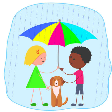 Different girl and boy with umbrella and dog in the rain. Friendship of different children. Vector flat image. Children save a dog from the rain