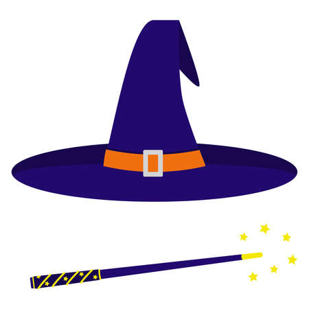 A wizard's hat and a magic wand. Isolated vector image on a white background